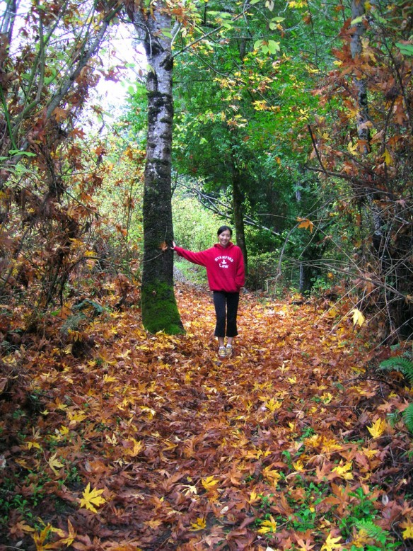 Serena enjoys the fall the color on the Eagle Trail in Windy Hill OSP