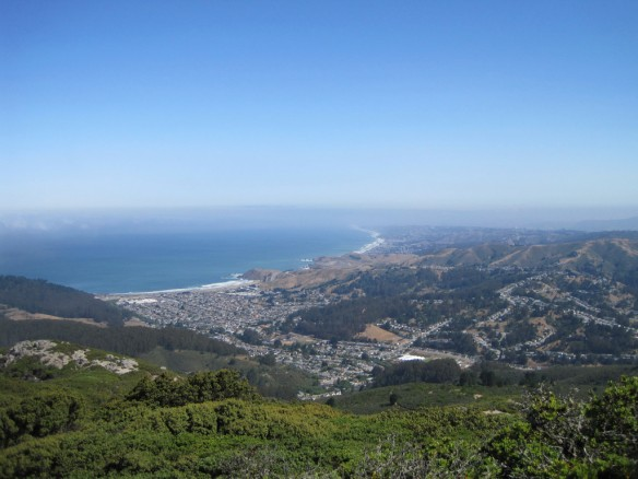 View of Pacifica from Montara Mountain in clearer conditions